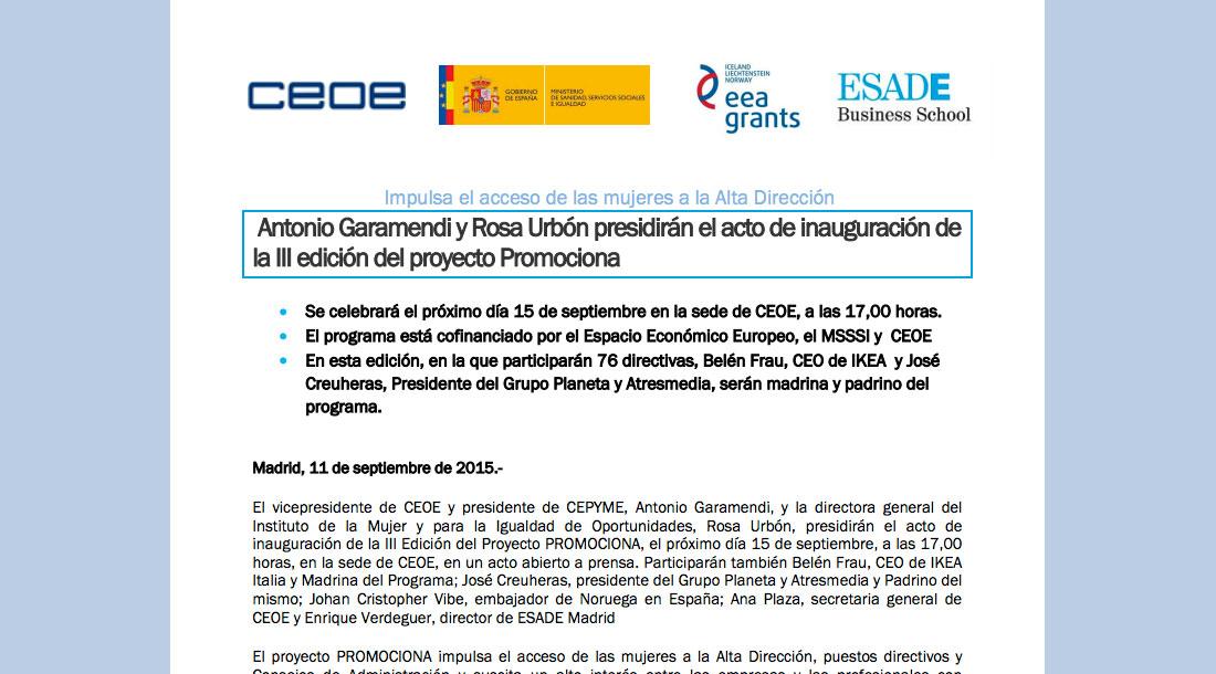 Nota de Prensa Acto de Inauguración 3ª Edición - Proyecto Promociona