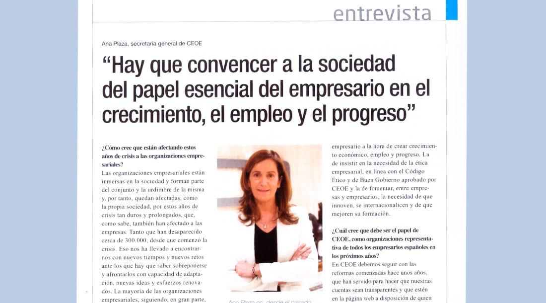 Artículo a Ana Plaza en la Revista - El Empresario - Junio 2015